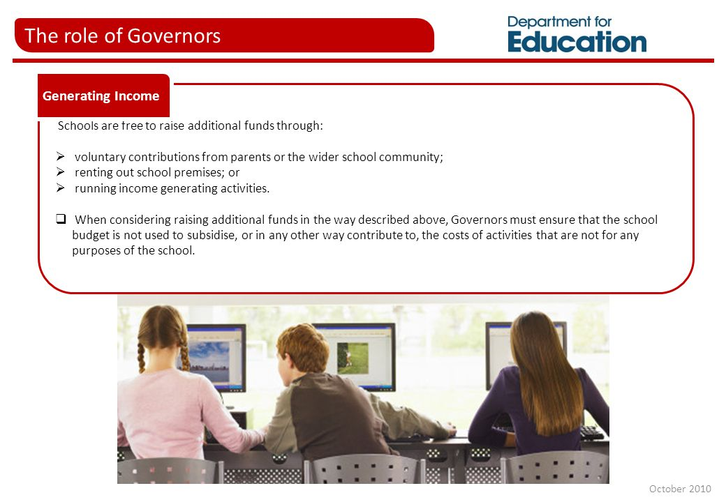 The role of Governors Schools are free to raise additional funds through:  voluntary contributions from parents or the wider school community;  rent
