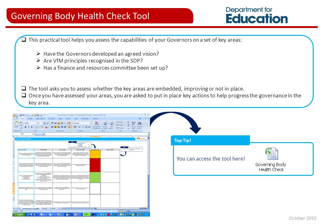 Governing Body Health Check Tool  This practical tool helps you assess the capabilities of your Governors on a set of key areas:  Have the Governors