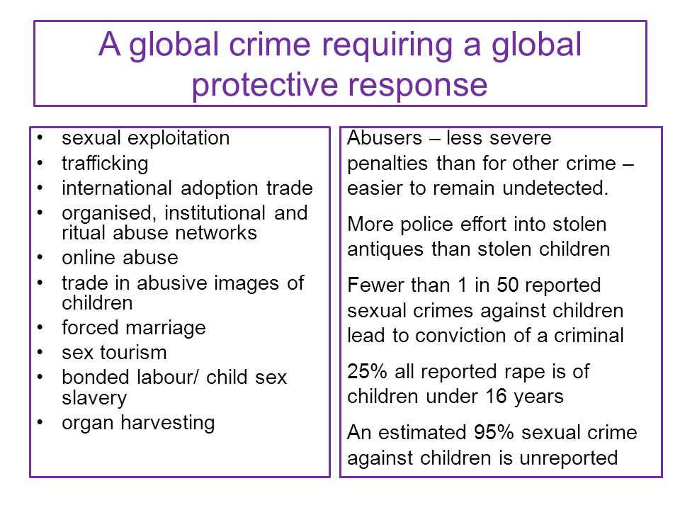 A global crime requiring a global protective response sexual exploitation trafficking international adoption trade organised, institutional and ritual
