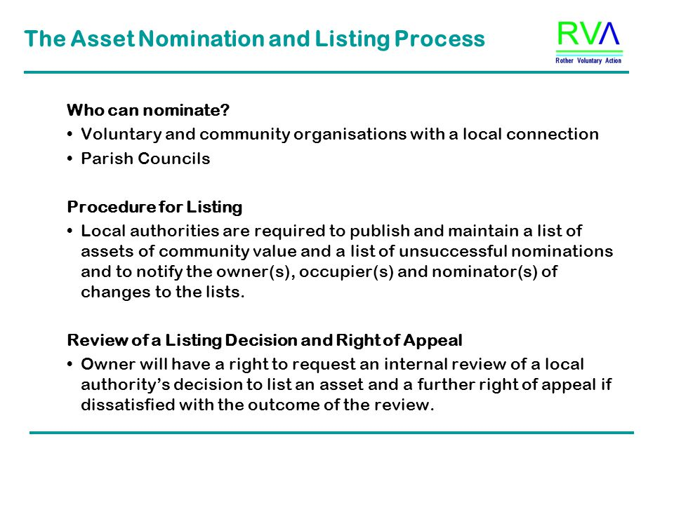 The Asset Nomination and Listing Process Who can nominate.
