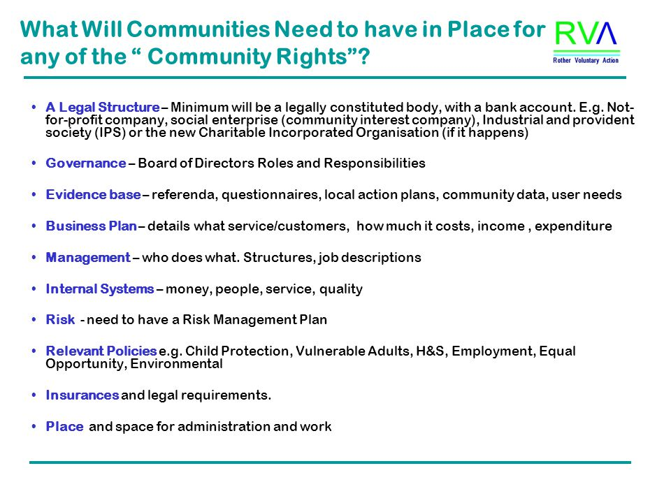 What Will Communities Need to have in Place for any of the Community Rights .