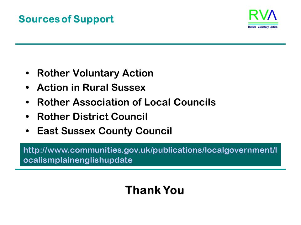 Sources of Support Rother Voluntary Action Action in Rural Sussex Rother Association of Local Councils Rother District Council East Sussex County Council Thank You http://www.communities.gov.uk/publications/localgovernment/l ocalismplainenglishupdate