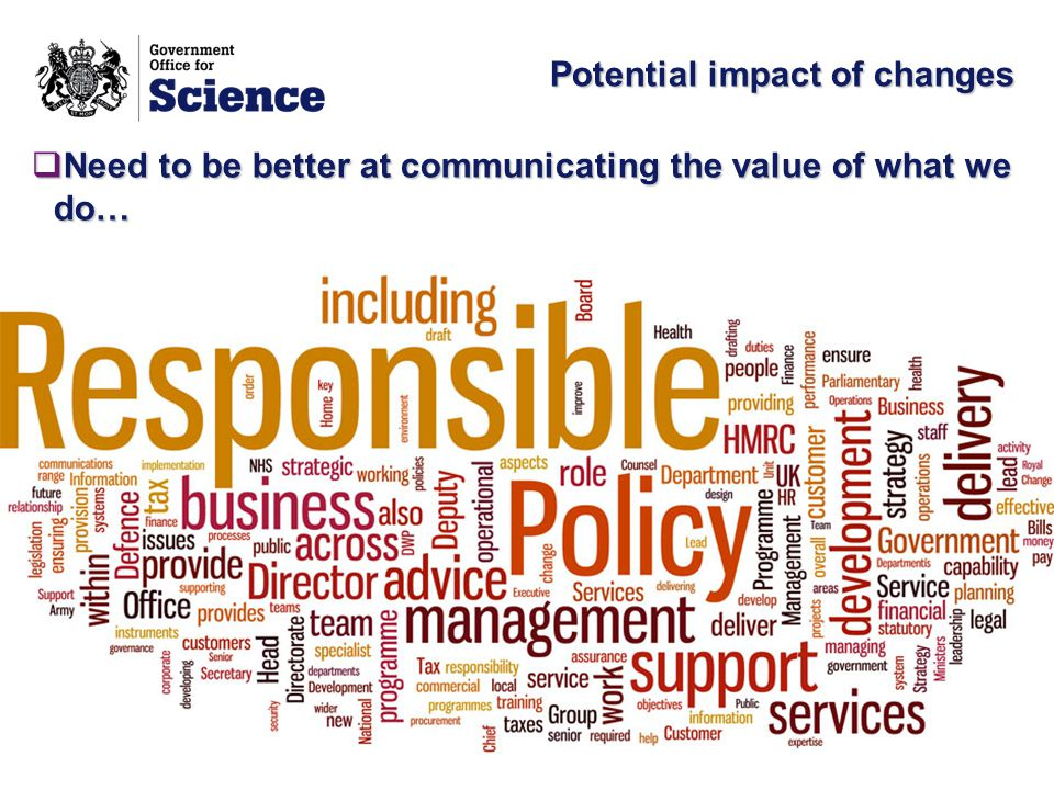 Potential impact of changes  Need to be better at communicating the value of what we do…