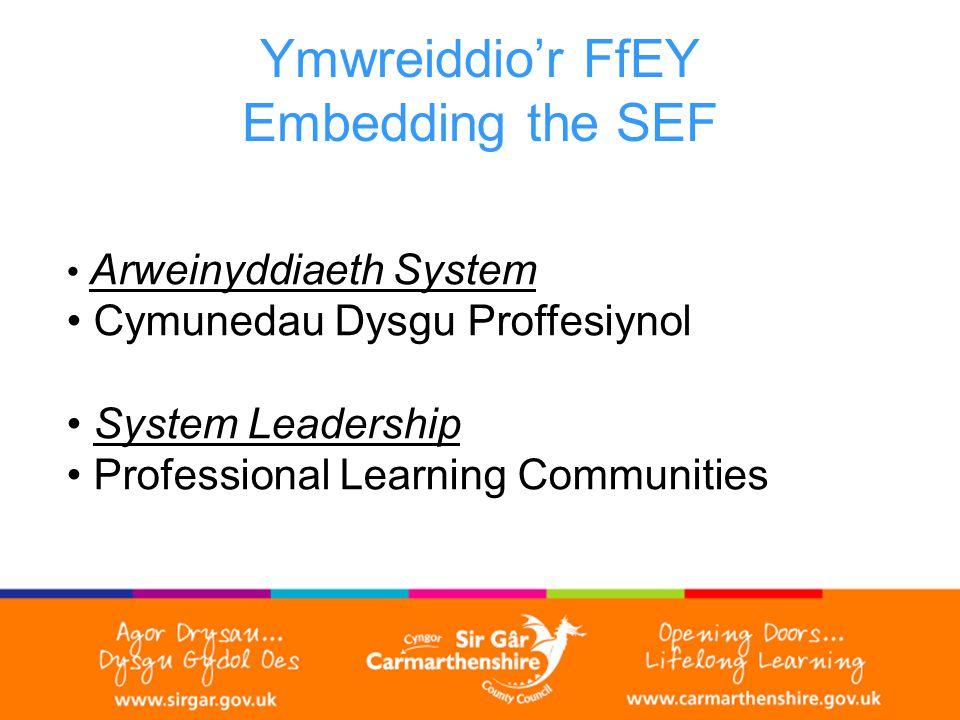 Ymwreiddio'r FfEY Embedding the SEF Arweinyddiaeth System Cymunedau Dysgu Proffesiynol System Leadership Professional Learning Communities