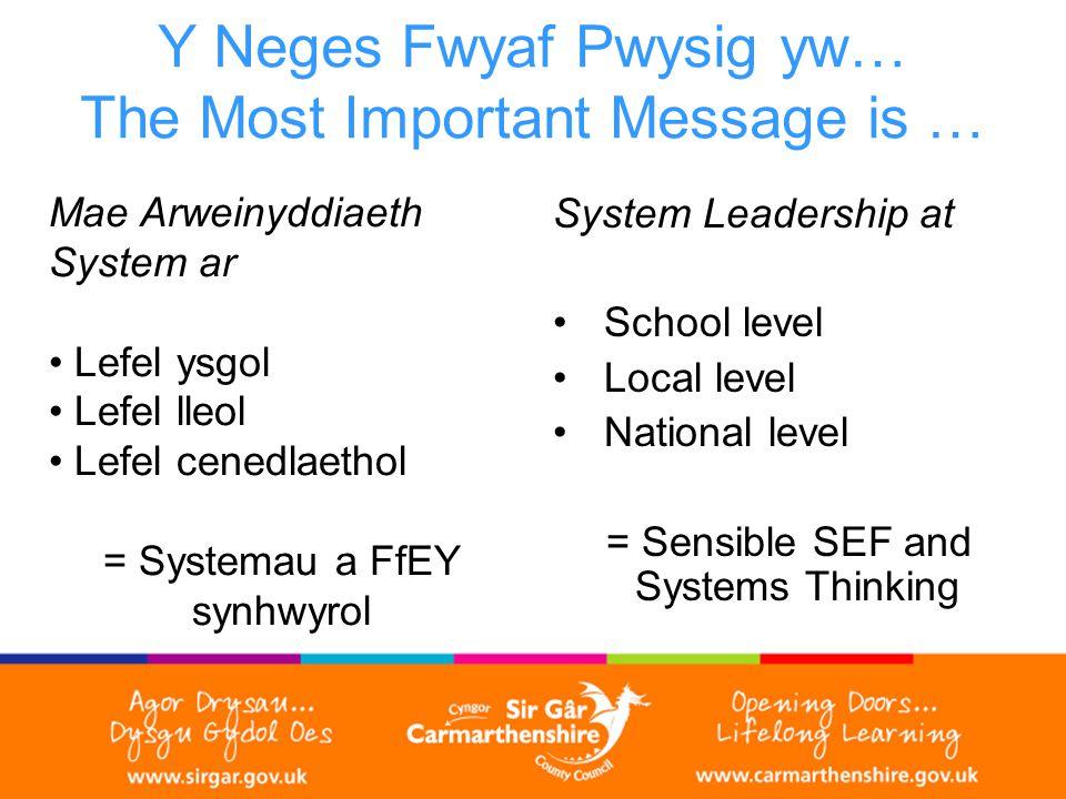 Y Neges Fwyaf Pwysig yw… The Most Important Message is … Mae Arweinyddiaeth System ar Lefel ysgol Lefel lleol Lefel cenedlaethol = Systemau a FfEY synhwyrol System Leadership at School level Local level National level = Sensible SEF and Systems Thinking