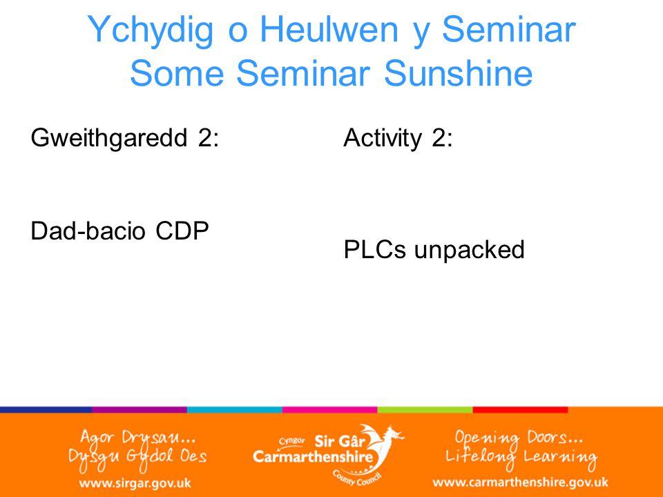 Ychydig o Heulwen y Seminar Some Seminar Sunshine Gweithgaredd 2: Dad-bacio CDP Activity 2: PLCs unpacked