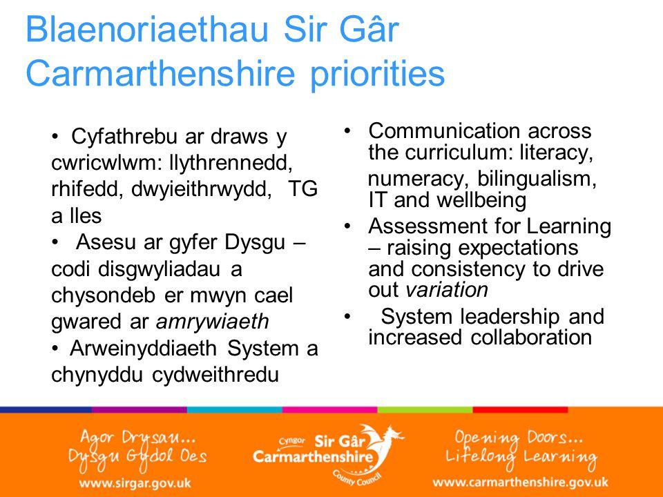 Blaenoriaethau Sir Gâr Carmarthenshire priorities Cyfathrebu ar draws y cwricwlwm: llythrennedd, rhifedd, dwyieithrwydd, TG a lles Asesu ar gyfer Dysgu – codi disgwyliadau a chysondeb er mwyn cael gwared ar amrywiaeth Arweinyddiaeth System a chynyddu cydweithredu Communication across the curriculum: literacy, numeracy, bilingualism, IT and wellbeing Assessment for Learning – raising expectations and consistency to drive out variation System leadership and increased collaboration