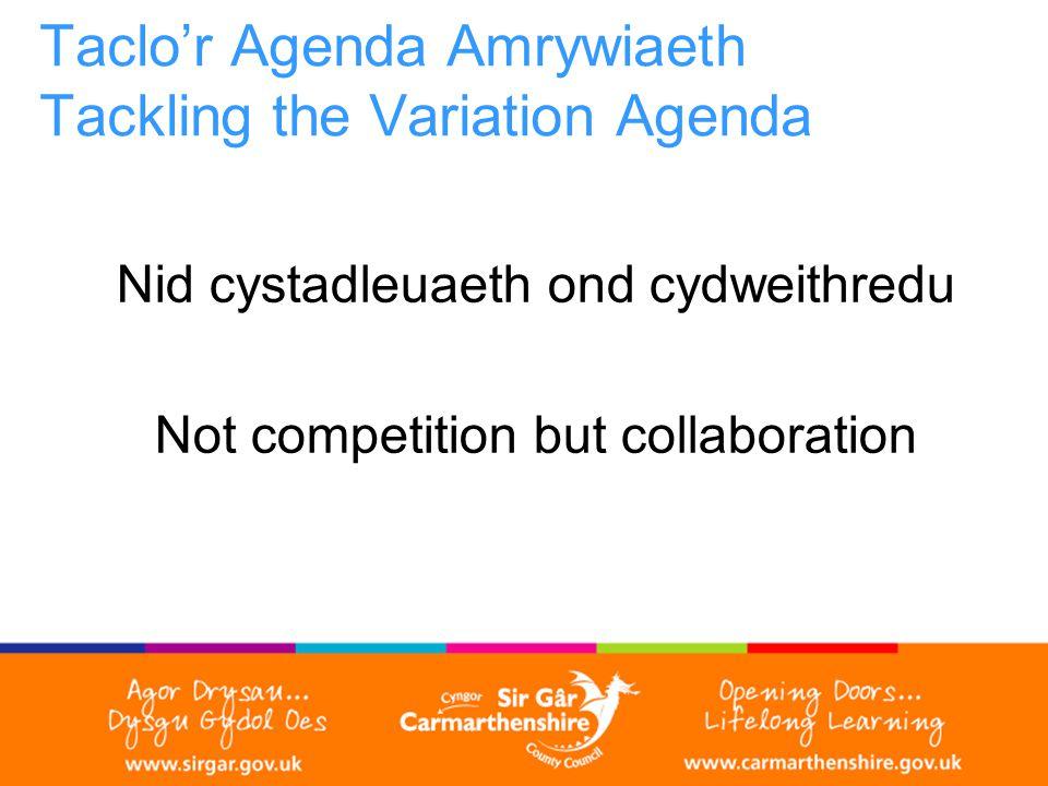 Taclo'r Agenda Amrywiaeth Tackling the Variation Agenda Nid cystadleuaeth ond cydweithredu Not competition but collaboration