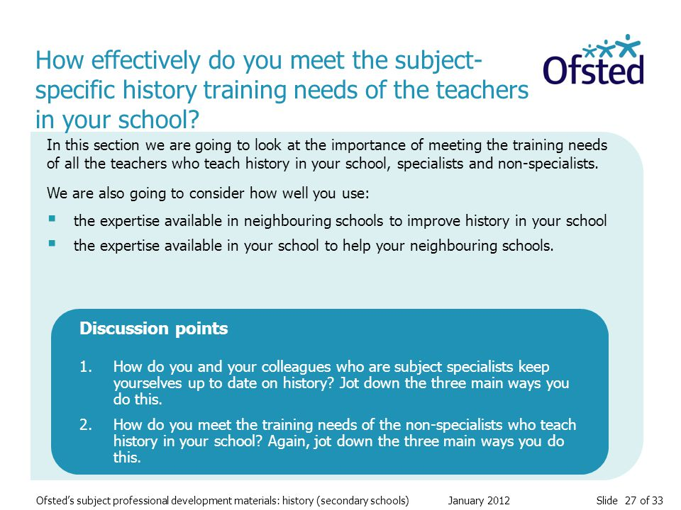 Slide 27 of 33 Ofsted's subject professional development materials: history (secondary schools) January 2012 How effectively do you meet the subject-