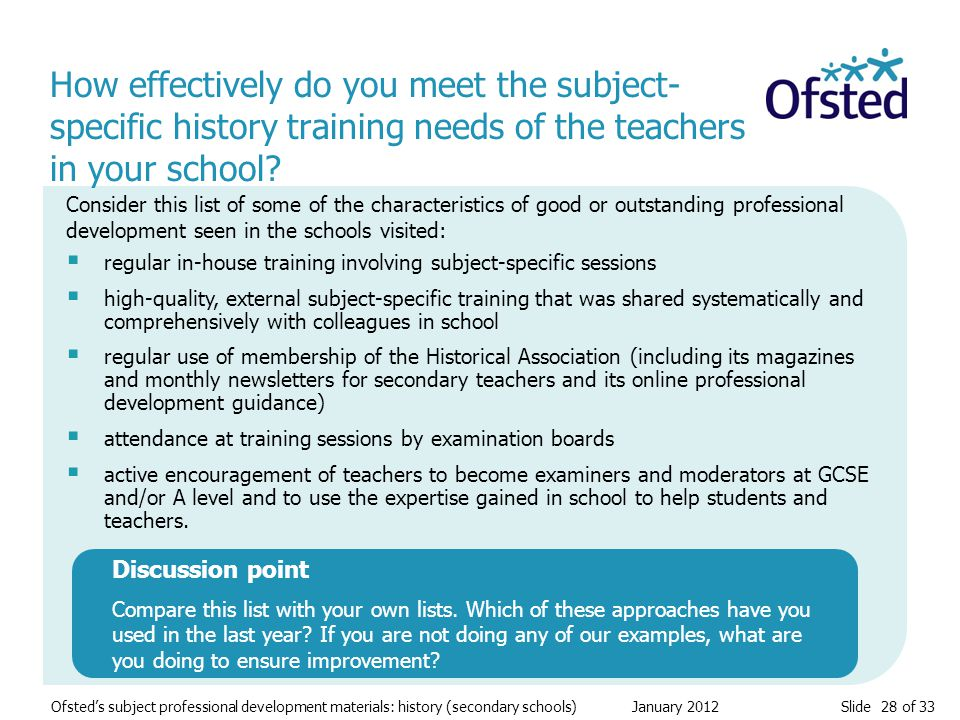 Slide 28 of 33 Ofsted's subject professional development materials: history (secondary schools) January 2012 How effectively do you meet the subject- specific history training needs of the teachers in your school.