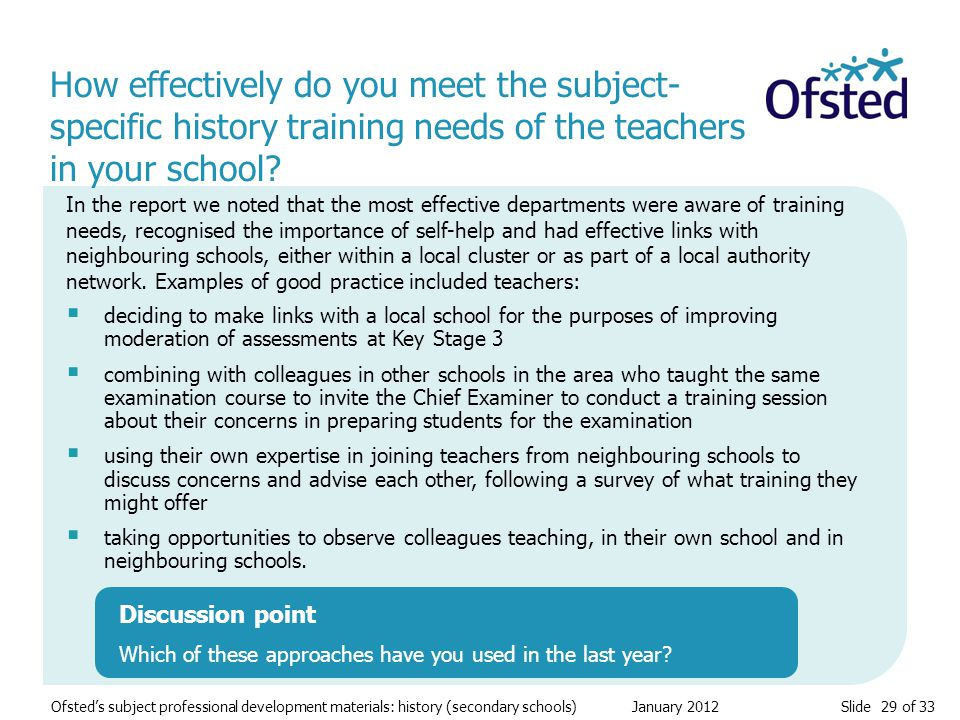 Slide 29 of 33 Ofsted's subject professional development materials: history (secondary schools) January 2012 How effectively do you meet the subject-