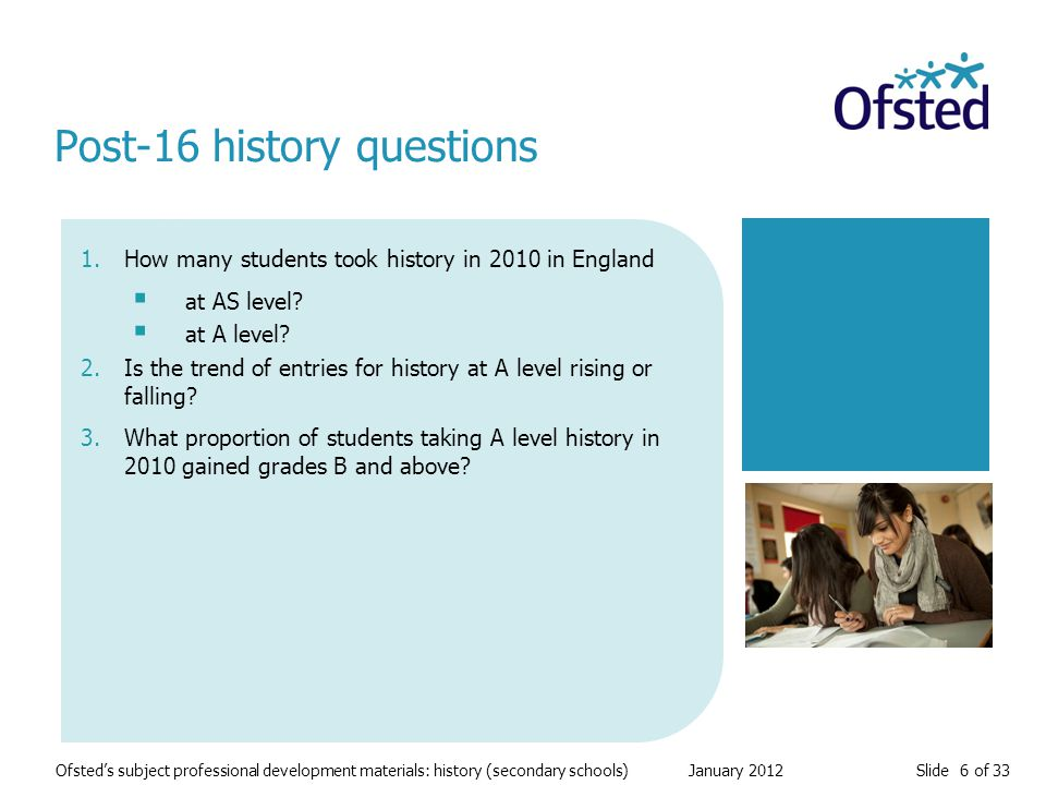 Slide 6 of 33 Ofsted's subject professional development materials: history (secondary schools) January 2012 1.How many students took history in 2010 in England  at AS level.