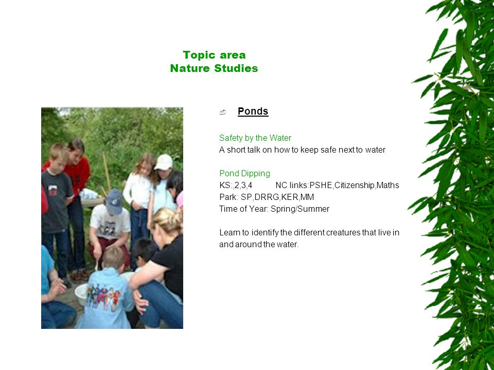 Topic area Nature Studies  Ponds Safety by the Water A short talk on how to keep safe next to water Pond Dipping KS:,2,3,4 NC links:PSHE,Citizenship,Maths Park: SP,DRRG,KER,MM Time of Year: Spring/Summer Learn to identify the different creatures that live in and around the water.
