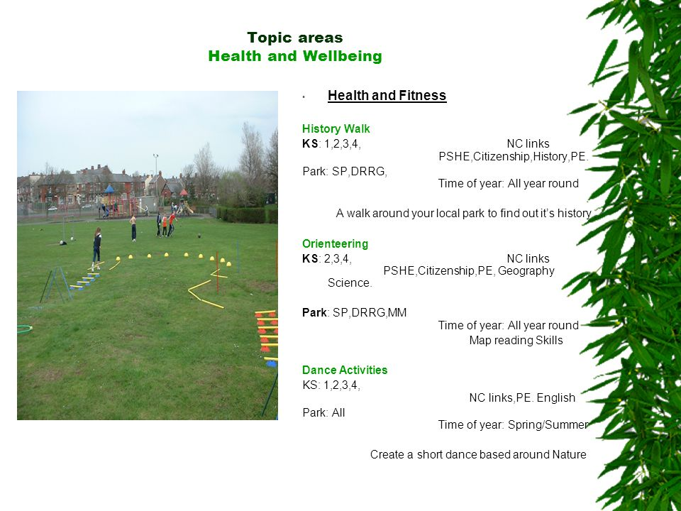 Topic areas Health and Wellbeing Health and Fitness History Walk KS: 1,2,3,4, NC links PSHE,Citizenship,History,PE.