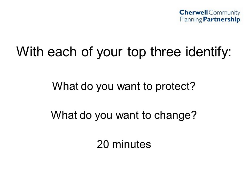 With each of your top three identify: What do you want to protect? What do you want to change? 20 minutes