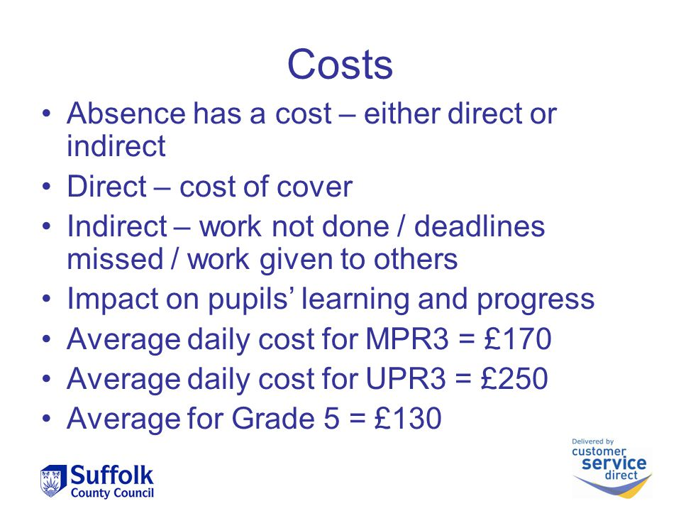 Costs Absence has a cost – either direct or indirect Direct – cost of cover Indirect – work not done / deadlines missed / work given to others Impact on pupils' learning and progress Average daily cost for MPR3 = £170 Average daily cost for UPR3 = £250 Average for Grade 5 = £130