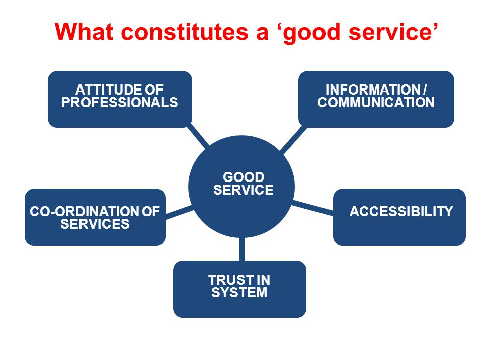 What constitutes a 'good service' INFORMATION / COMMUNICATION ACCESSIBILITY ATTITUDE OF PROFESSIONALS CO-ORDINATION OF SERVICES TRUST IN SYSTEM GOOD SERVICE