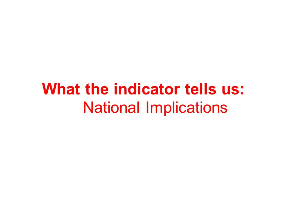 What the indicator tells us: National Implications