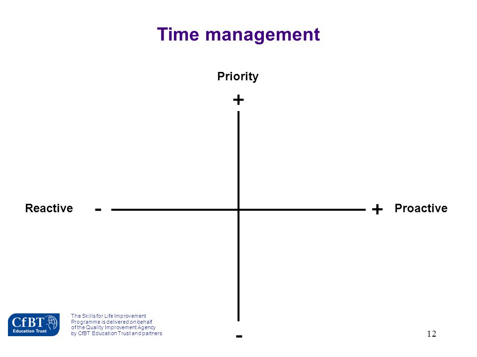 12 Priority Reactive + - - + Proactive Time management The Skills for Life Improvement Programme is delivered on behalf of the Quality Improvement Age