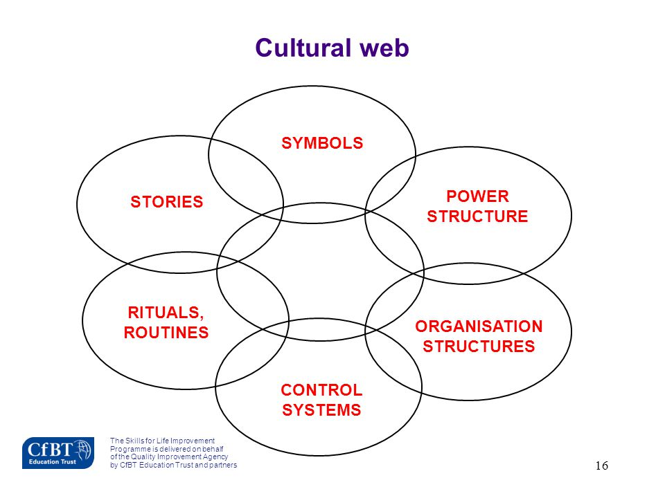16 STORIES SYMBOLS POWER STRUCTURE RITUALS, ROUTINES CONTROL SYSTEMS ORGANISATION STRUCTURES Cultural web The Skills for Life Improvement Programme is