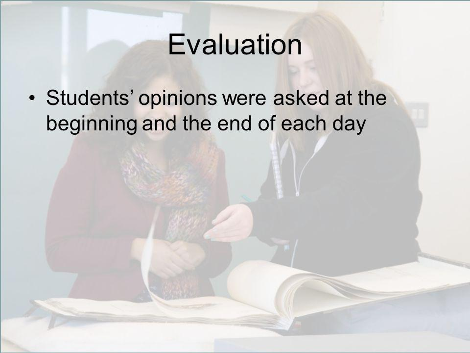 Evaluation Students' opinions were asked at the beginning and the end of each day