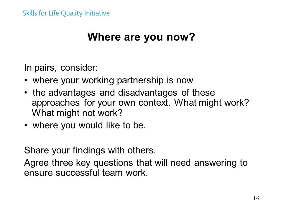 16 Where are you now? In pairs, consider: where your working partnership is now the advantages and disadvantages of these approaches for your own cont