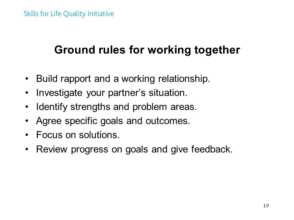 19 Ground rules for working together Build rapport and a working relationship. Investigate your partner's situation. Identify strengths and problem ar