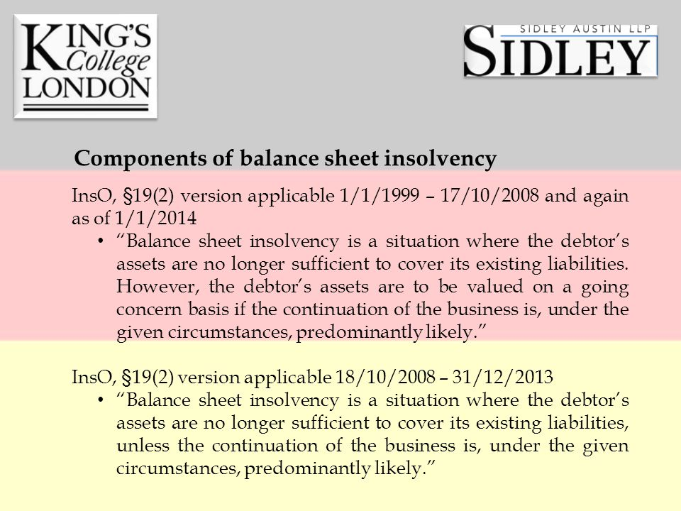 InsO, §19(2) version applicable 1/1/1999 – 17/10/2008 and again as of 1/1/2014 Balance sheet insolvency is a situation where the debtor's assets are no longer sufficient to cover its existing liabilities.