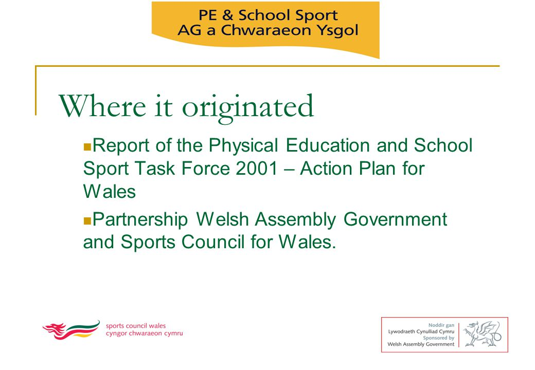 Aims of PESS To raise standards in Physical Education by ensuring that all schools have effective teaching and learning in PE, To be committed to managing the subject effectively within the whole school curriculum by providing 2 hours per week of high quality PE for each child To develop continuity and progression in the development of young peoples knowledge, understanding and physical skills across the partnership and between the key stages.