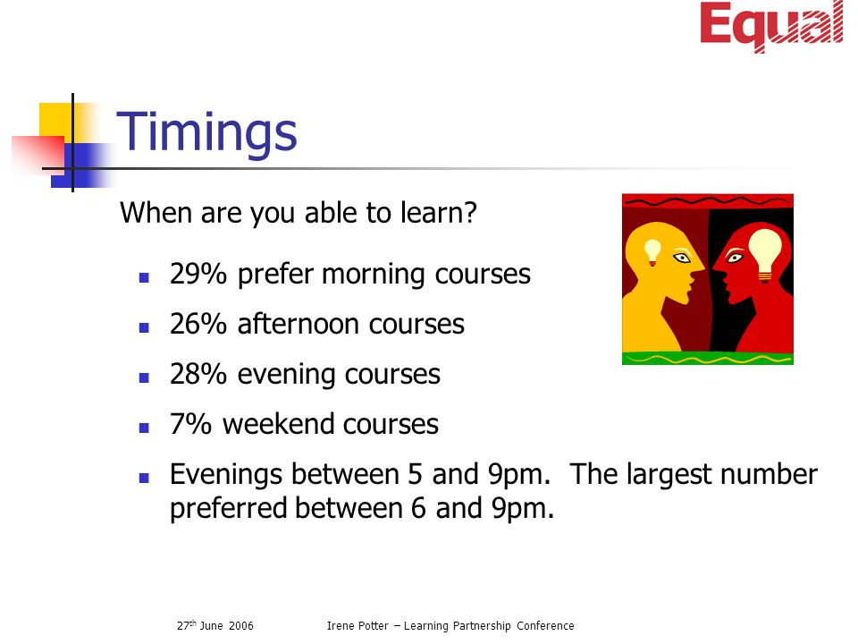 27 th June 2006Irene Potter – Learning Partnership Conference Timings When are you able to learn.