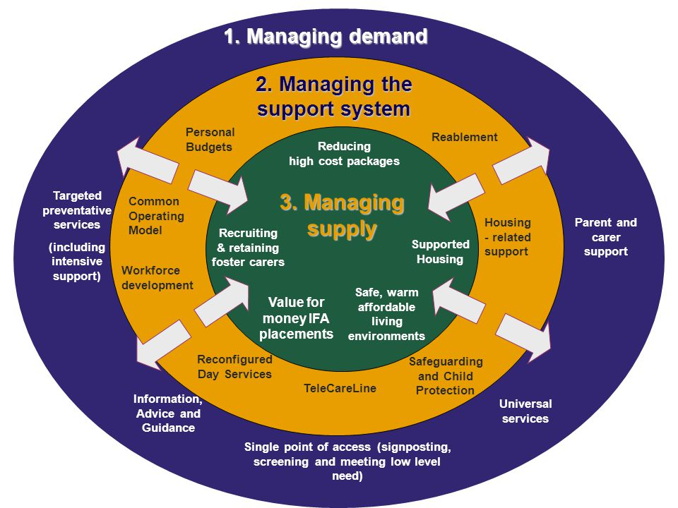 2. Managing the support system 1. Managing demand 3.