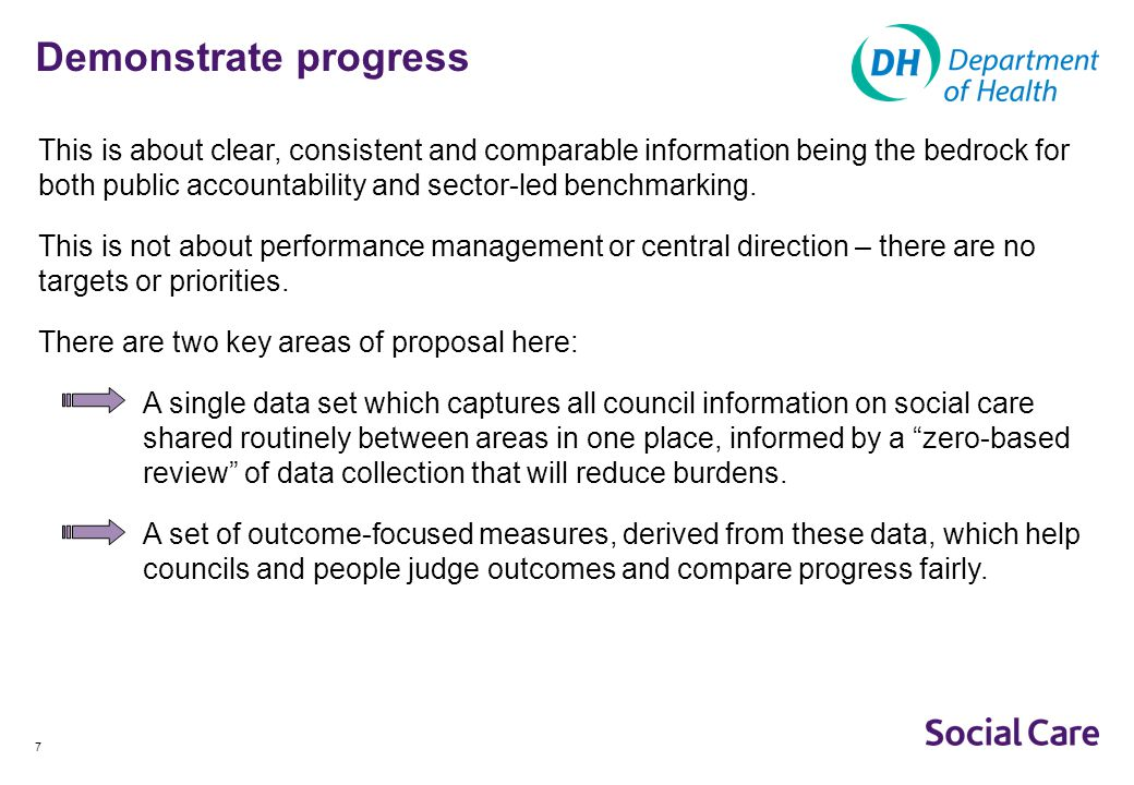 8 Demonstrate progress (2) The single data set: Will bring all routine social care collections into one place, making data freely accessible and cutting out duplication between organisations.