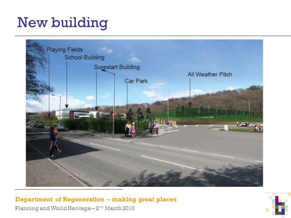 Department of Regeneration – making great places Planning and World Heritage – 2 nd March 2010 New building