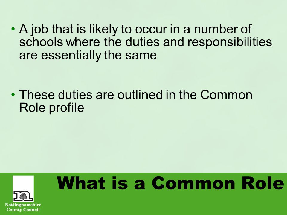 What is a Common Role A job that is likely to occur in a number of schools where the duties and responsibilities are essentially the same These duties are outlined in the Common Role profile