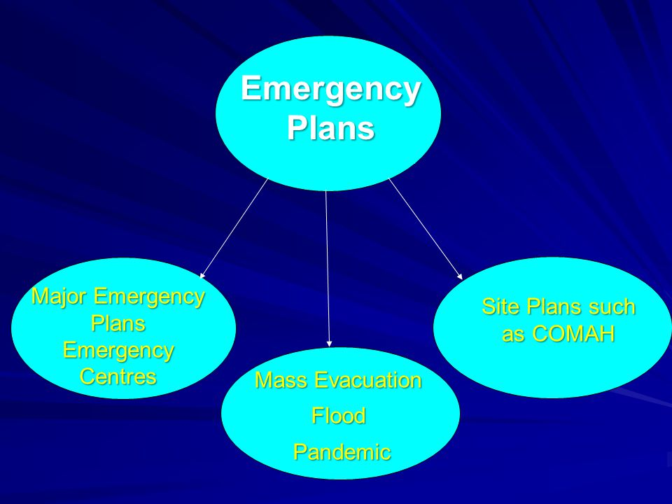 Major Emergency Plans Emergency Centres Site Plans such as COMAH Emergency Plans Mass Evacuation Flood Pandemic Pandemic
