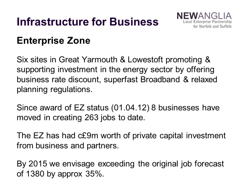 Enterprise Zone Six sites in Great Yarmouth & Lowestoft promoting & supporting investment in the energy sector by offering business rate discount, superfast Broadband & relaxed planning regulations.