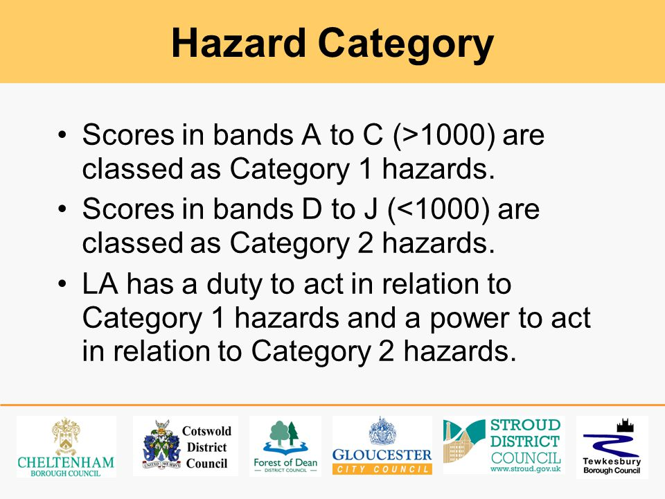 Hazard Category Scores in bands A to C (>1000) are classed as Category 1 hazards.