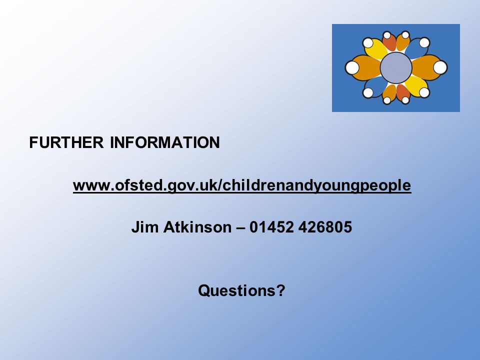 FURTHER INFORMATION www.ofsted.gov.uk/childrenandyoungpeople Jim Atkinson – 01452 426805 Questions