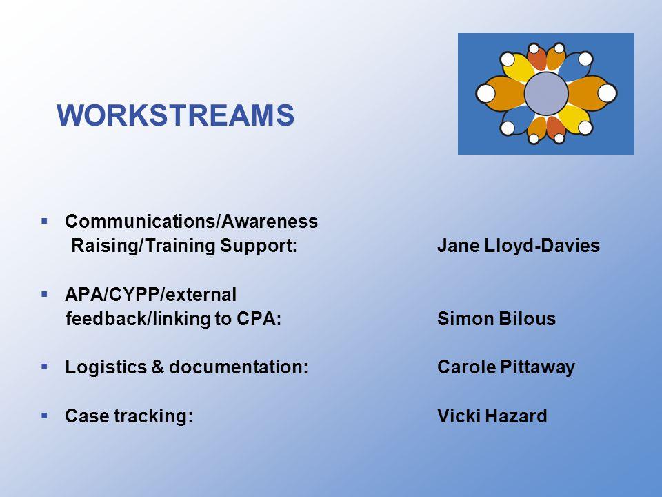 WORKSTREAMS  Communications/Awareness Raising/Training Support:Jane Lloyd-Davies  APA/CYPP/external feedback/linking to CPA:Simon Bilous  Logistics & documentation:Carole Pittaway  Case tracking:Vicki Hazard