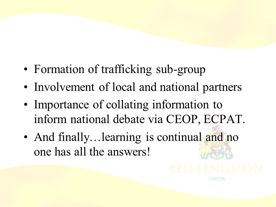 Role of LSCB Formation of trafficking sub-group Involvement of local and national partners Importance of collating information to inform national deba