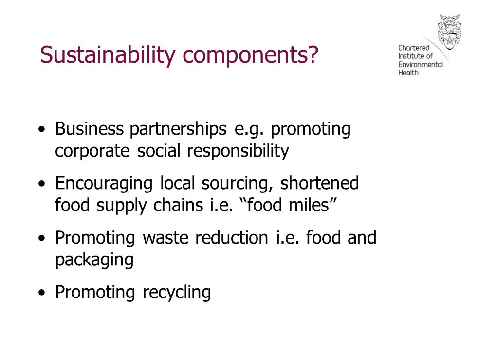 Sustainability components. Business partnerships e.g.