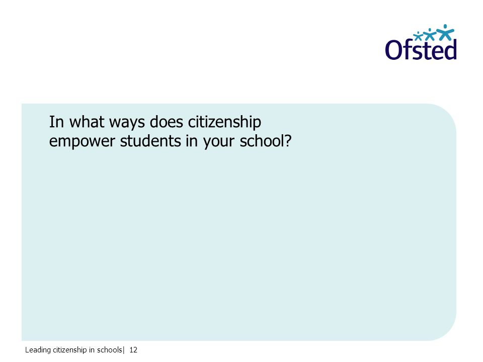 Leading citizenship in schools| 12 In what ways does citizenship empower students in your school
