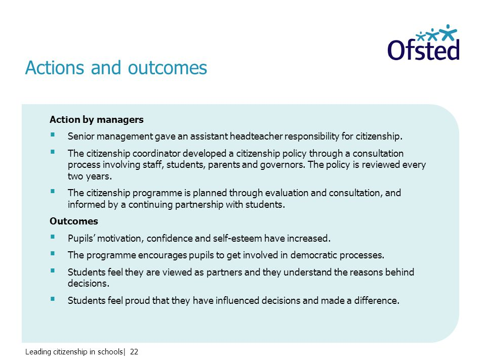 Leading citizenship in schools| 22 Action by managers  Senior management gave an assistant headteacher responsibility for citizenship.