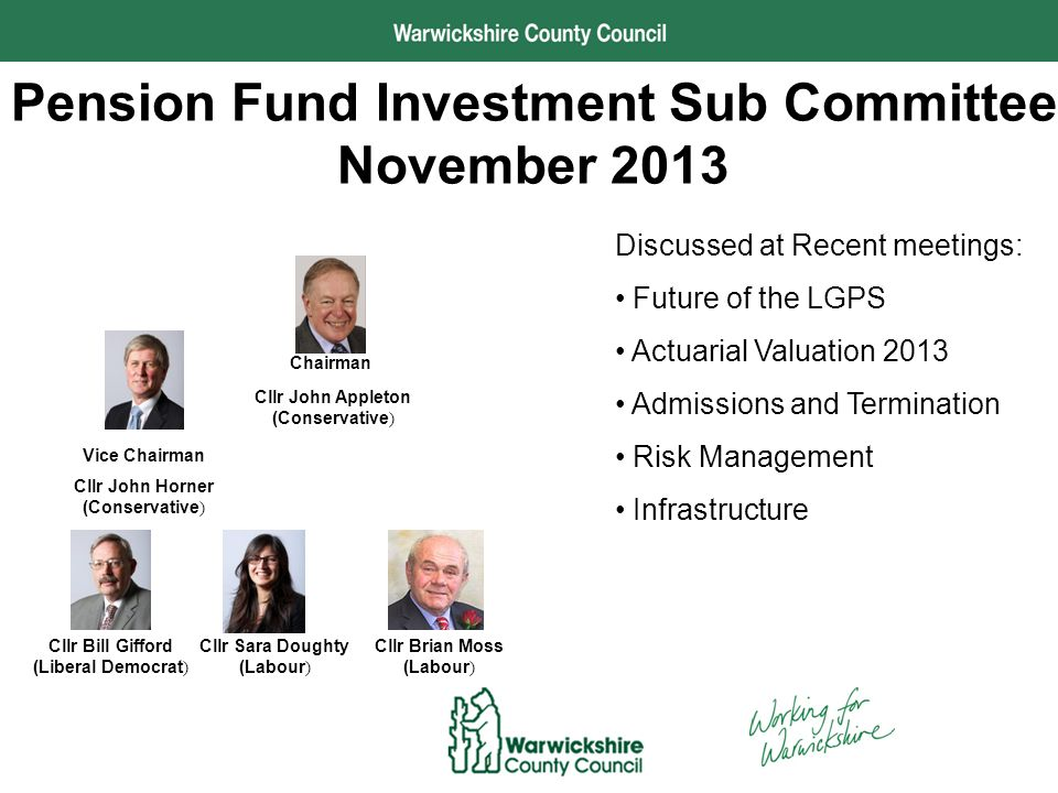 Performance and Development Pension Fund Investment Sub Committee November 2013 Cllr John Appleton (Conservative ) Chairman Discussed at Recent meetings: Future of the LGPS Actuarial Valuation 2013 Admissions and Termination Risk Management Infrastructure Vice Chairman Cllr John Horner (Conservative ) Cllr Brian Moss (Labour ) Cllr Sara Doughty (Labour ) Cllr Bill Gifford (Liberal Democrat )