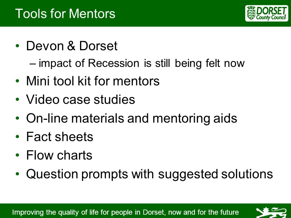 Improving the quality of life for people in Dorset, now and for the future Tools for Mentors Devon & Dorset –impact of Recession is still being felt now Mini tool kit for mentors Video case studies On-line materials and mentoring aids Fact sheets Flow charts Question prompts with suggested solutions