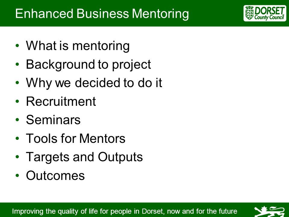 Improving the quality of life for people in Dorset, now and for the future Enhanced Business Mentoring What is mentoring Background to project Why we decided to do it Recruitment Seminars Tools for Mentors Targets and Outputs Outcomes