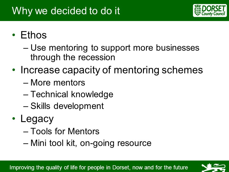 Improving the quality of life for people in Dorset, now and for the future Why we decided to do it Ethos –Use mentoring to support more businesses through the recession Increase capacity of mentoring schemes –More mentors –Technical knowledge –Skills development Legacy –Tools for Mentors –Mini tool kit, on-going resource