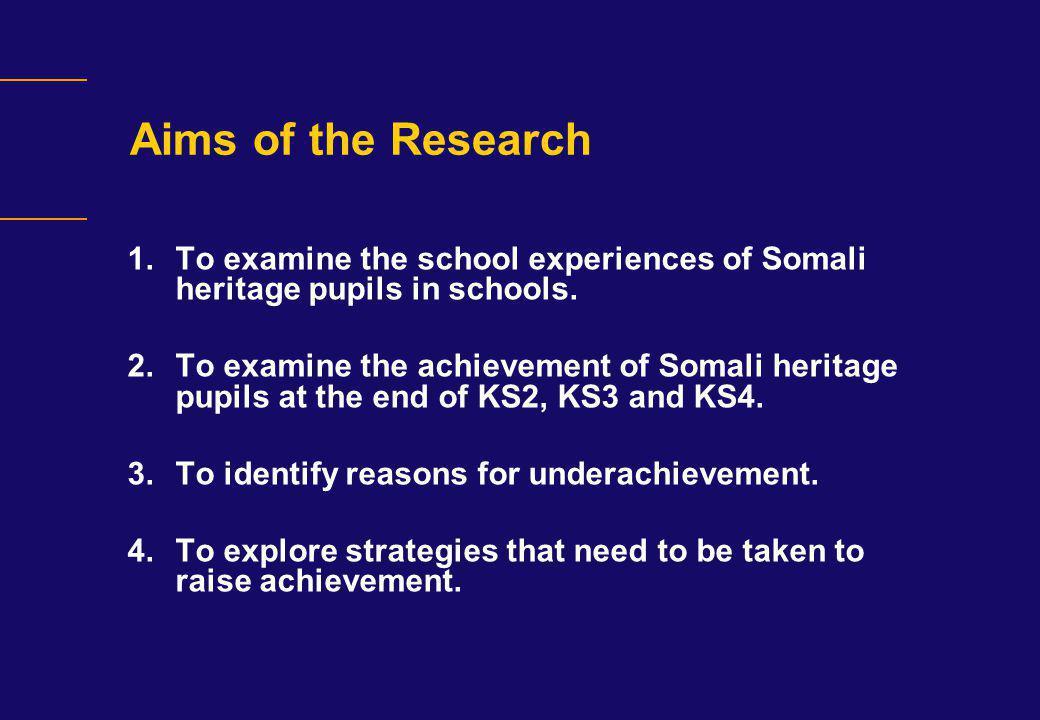 Somali Pupils KS2, KS3 and GCSE Performance in London Schools 2006 KS2 (Level 4)KS3 (Level 5)GCSE (5+A*-C) White British827558 Chinese908480 Indian858272 Pakistani696151 Bangladeshi756457 Black Caribbean726345 African inc.