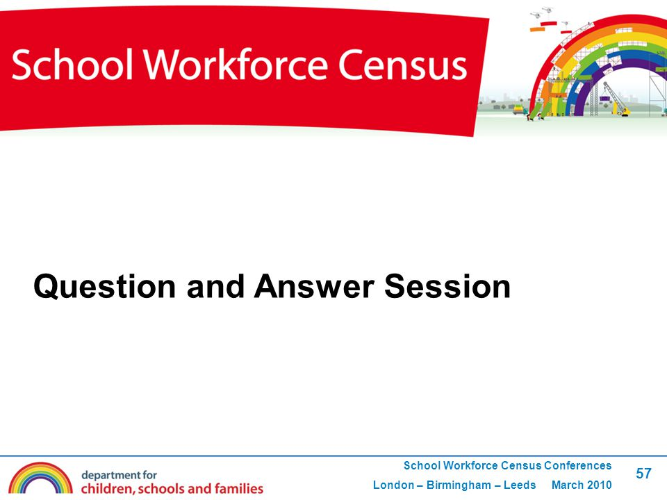 57 School Workforce Census Conferences London – Birmingham – Leeds March 2010 Question and Answer Session