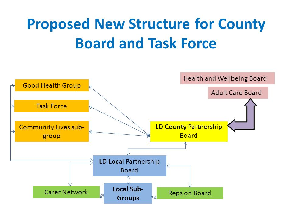 Proposed New Structure for County Board and Task Force Health and Wellbeing Board Adult Care Board LD County Partnership Board LD Local Partnership Board Carer Network Reps on Board Good Health Group Task Force Community Lives sub- group Local Sub- Groups